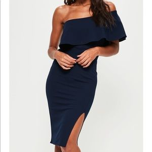 Missguided one shoulder frill split midi dress NWT